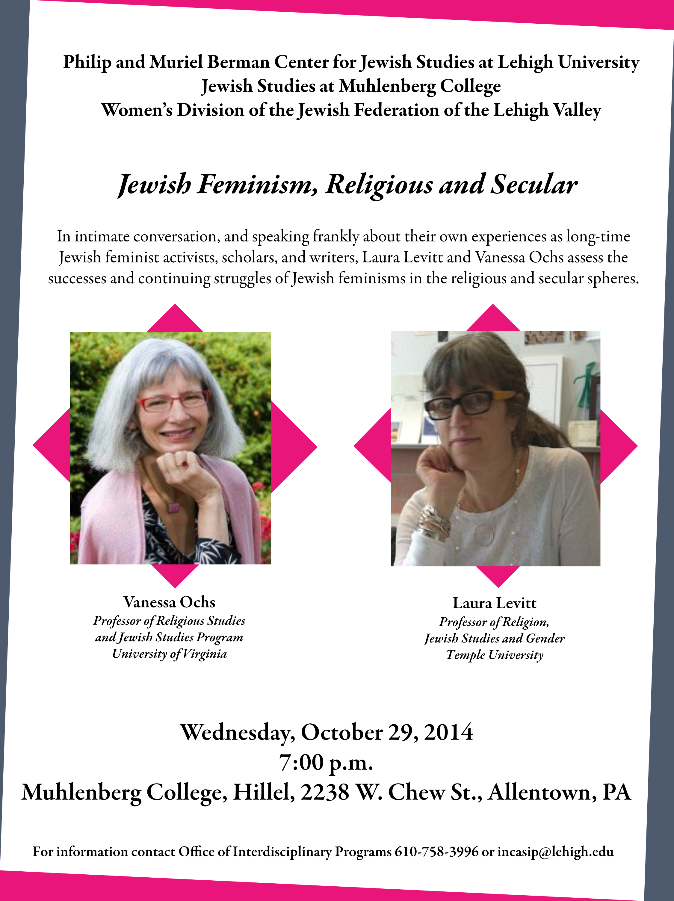 Jewish Feminism, Religious and Secular presented by Vanessa Ochs and Laura Levitt