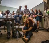 "Students and faculty listen to ""Sexualizing Race, Gendering Sex: Stand Your Ground, Trayvon Martin and White Female Sexuality in the Prosecution of Black Men"""