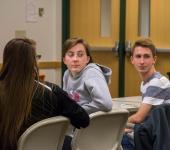 Students turn around to listen