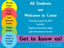 """Lehigh University Women, Gender, and Sexuality Studies - """"Get to Know Us"""" Reception Flyer"""